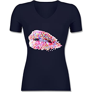 Statement Shirts - Candy Lips Lippen Zucker Mund - XS - Dunkelblau - F281N  - Tailliertes