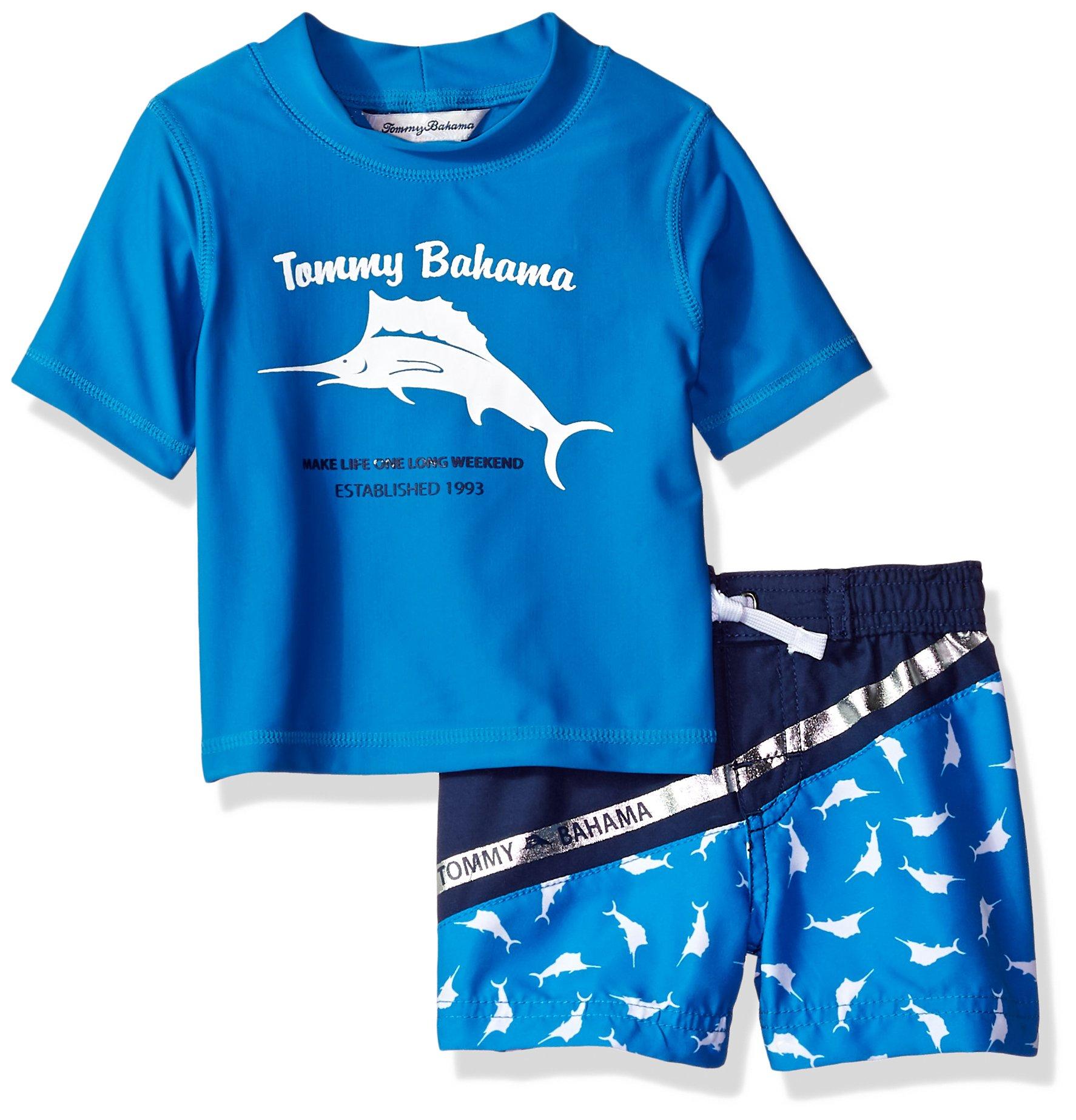 Tommy Bahama Boys' Baby Rashguard and Trunks Swimsuit Set, Marlin Blue, 4T by Tommy Bahama