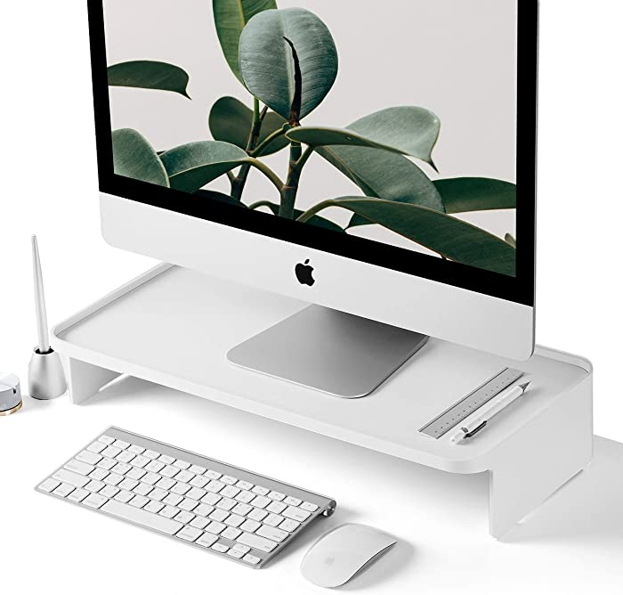 Monitor Stand Riser [Zero Assembly] Multi-Level Shelf Storage Office Desk Organizer for iMac, Desktop Computer Monitors - White