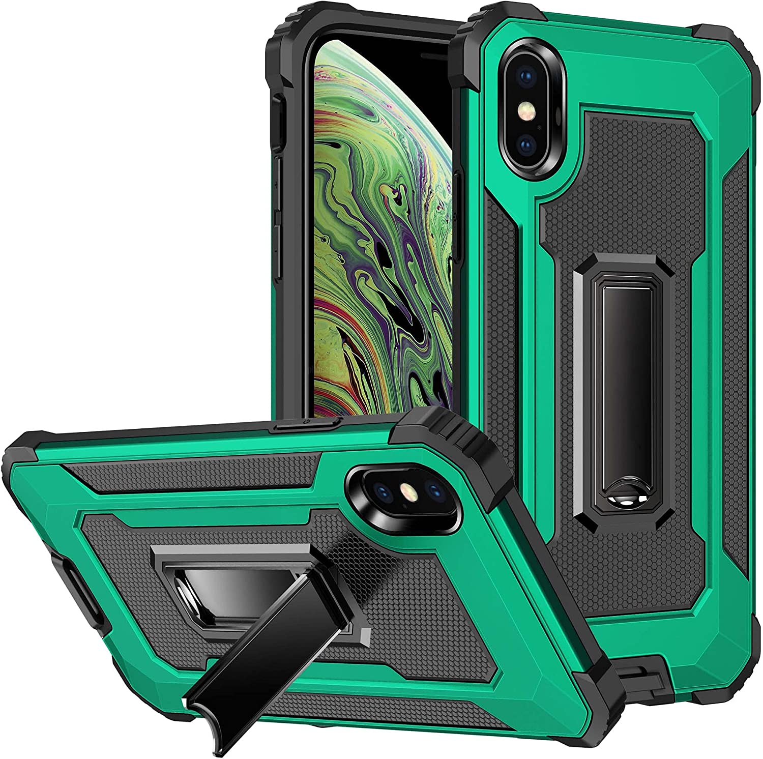 """AENLIG for iPhone X Case,iPhone Xs Case, Dual Layer Rugged Military Grade Heavy Duty Armor Shockproof Anti-Drop with Built-in Kickstand for iPhone X/XS 5.8"""" (Green)"""