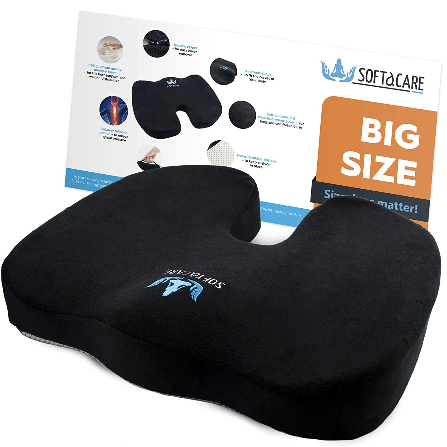 "SOFTaCARE Best Seat Cushion - Big Cushion Seat - Office Chair Cushion 18""x16""x3 1/2""- Chair Pillow Memory Foam! Ideal Car Seat Cushion-Coccyx Cushion-Relieve Your Pain Size has The Meaning (Black)"