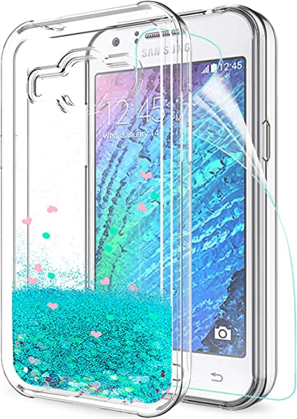 LeYi Coque Galaxy J1 2015 avec Film de Protection écran, Fille Personnalisé Liquide Paillette Transparente 3D Silicone Antichoc Kawaii Protection Etui ...