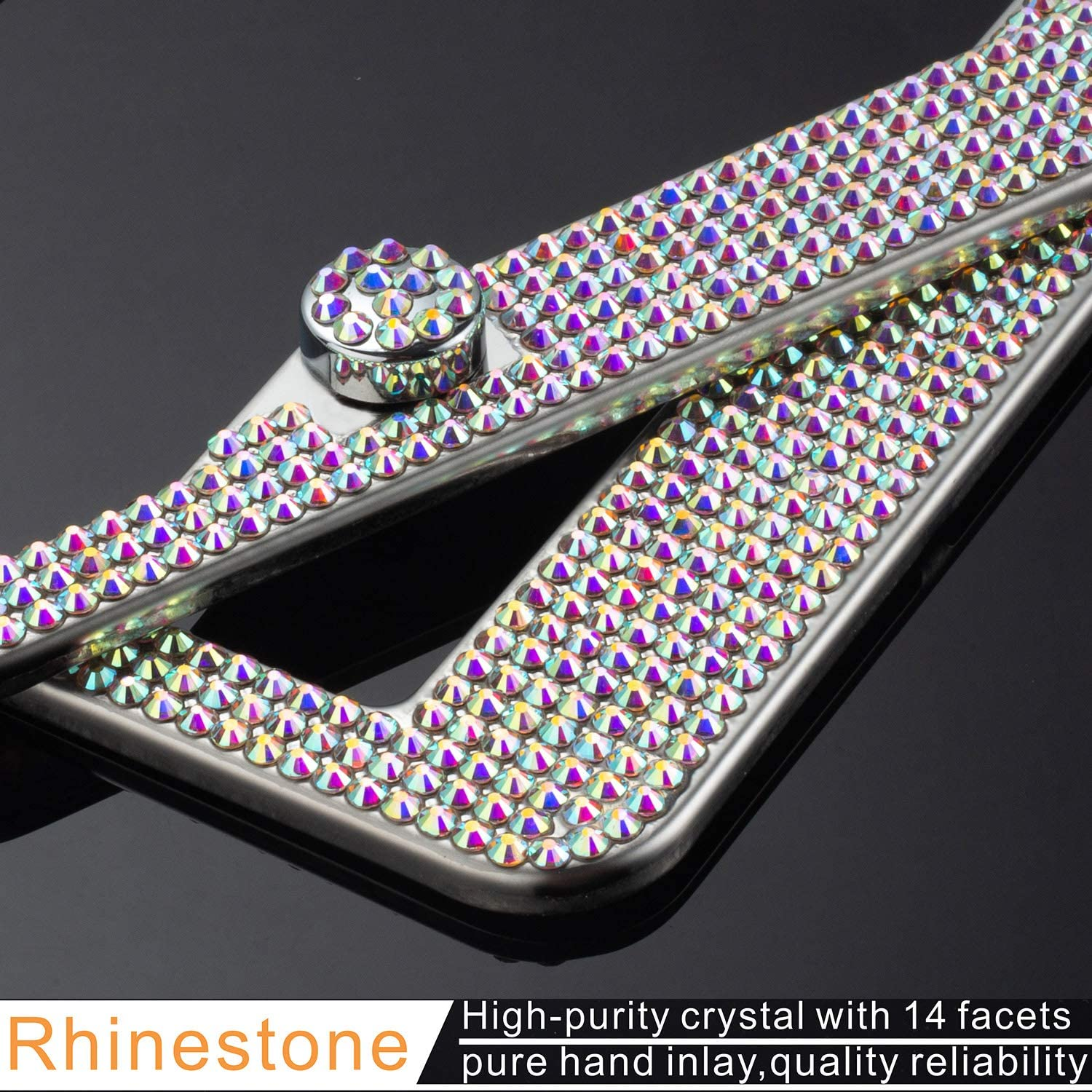 2 Pack Rhinestone License Plate Frame for Women,Premium Stainless Steel Cover 1000 Finest 14 Facets Luxury Sparkling Crystal Diamond License Plate Frame with Giftbox /& Bling Cap Screw Set Red