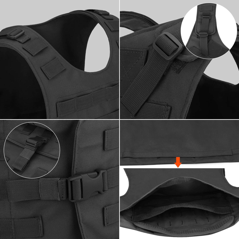 Huntvp Chaleco T/áctico Militar al Aire Libre Ajustable para Caza Airsoft Paintball CS Excursi/ón Senderismo