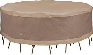 Duck Covers Elegant Water-Resistant 96 Inch Round Patio Table & Chair Set Cover