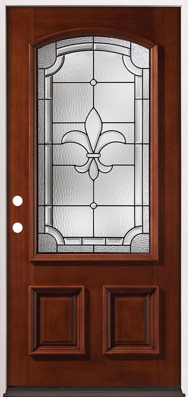 Dayar wooden front door hpd458 solid wood doors al habib panel - 3 4 Arch Mahogany Wood Entry Door 49 Fleur De Lis Left Hand