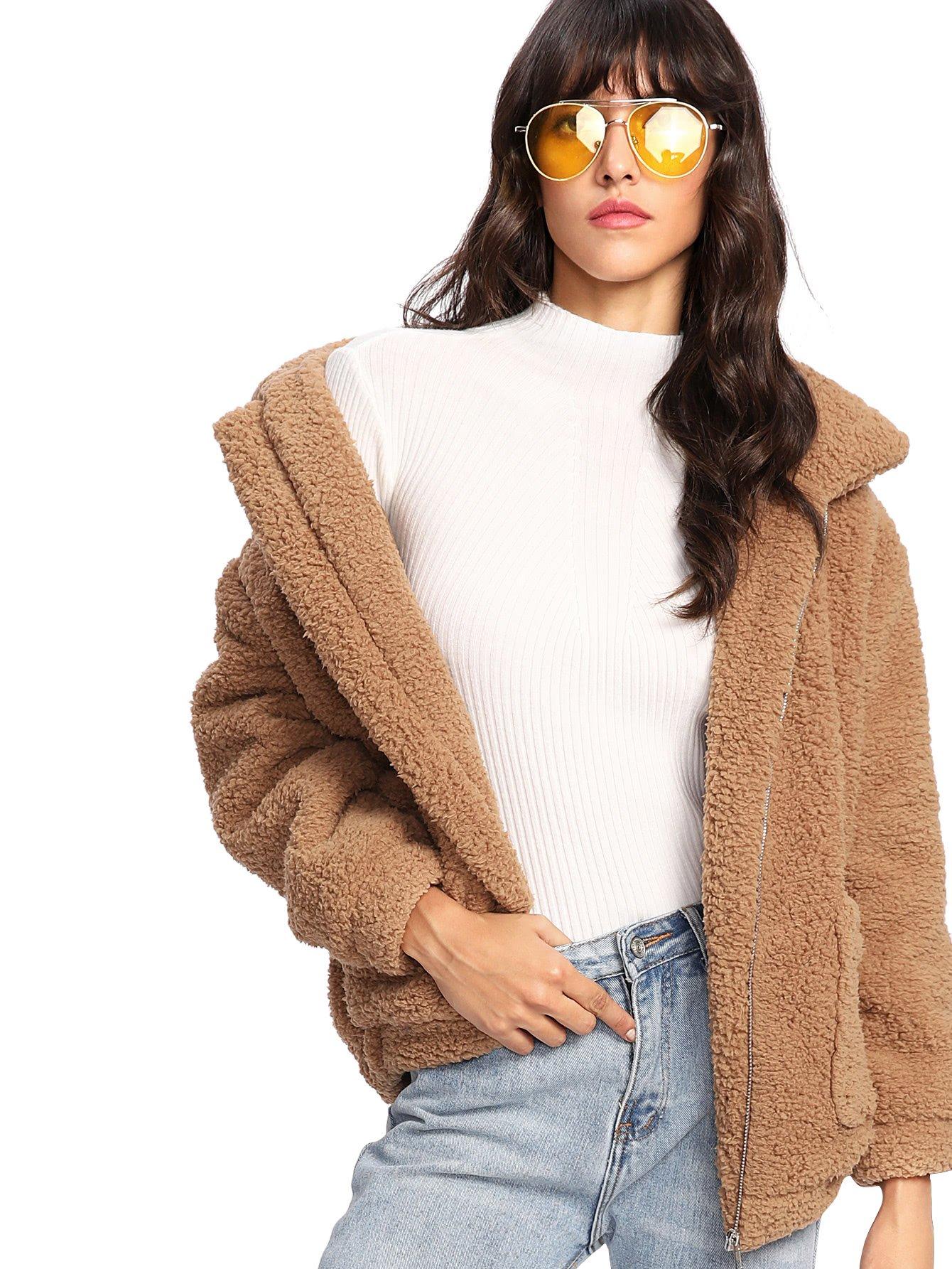 MakeMeChic Women's Long Sleeve Zipper Dual Pocket Faux Fur Coat Jacket Khaki M