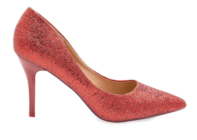 Fashion Shoes-Escarpins Femmes Talon Haut Sexy-Chaussures Anguille Talon  Fin 9cm-Vernis Brillant en Paillettes-pour Soirée Mariage-Chic Tendance   Amazon.fr  ... d835a81056a6