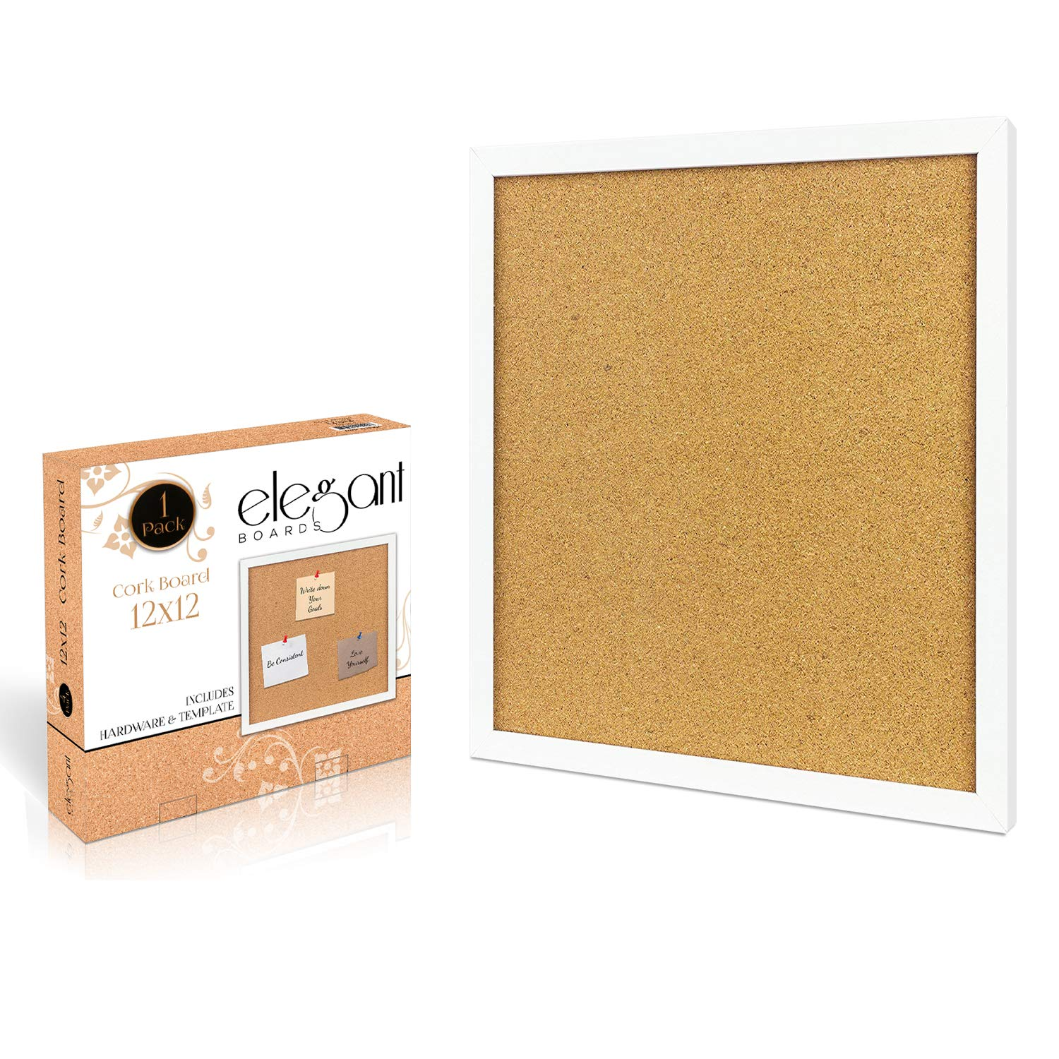 4 Pack Cork Bulletin Board 12X 12 Square Wall Tiles, Modern White Framed Boards for Home and Office (Hardware and Template Included) Elegant Boards