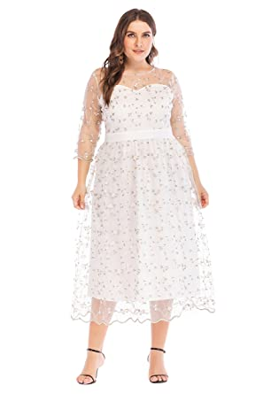 Amazon.com: ESPRLIA Women\'s Plus Size Fit and Flare Floral ...