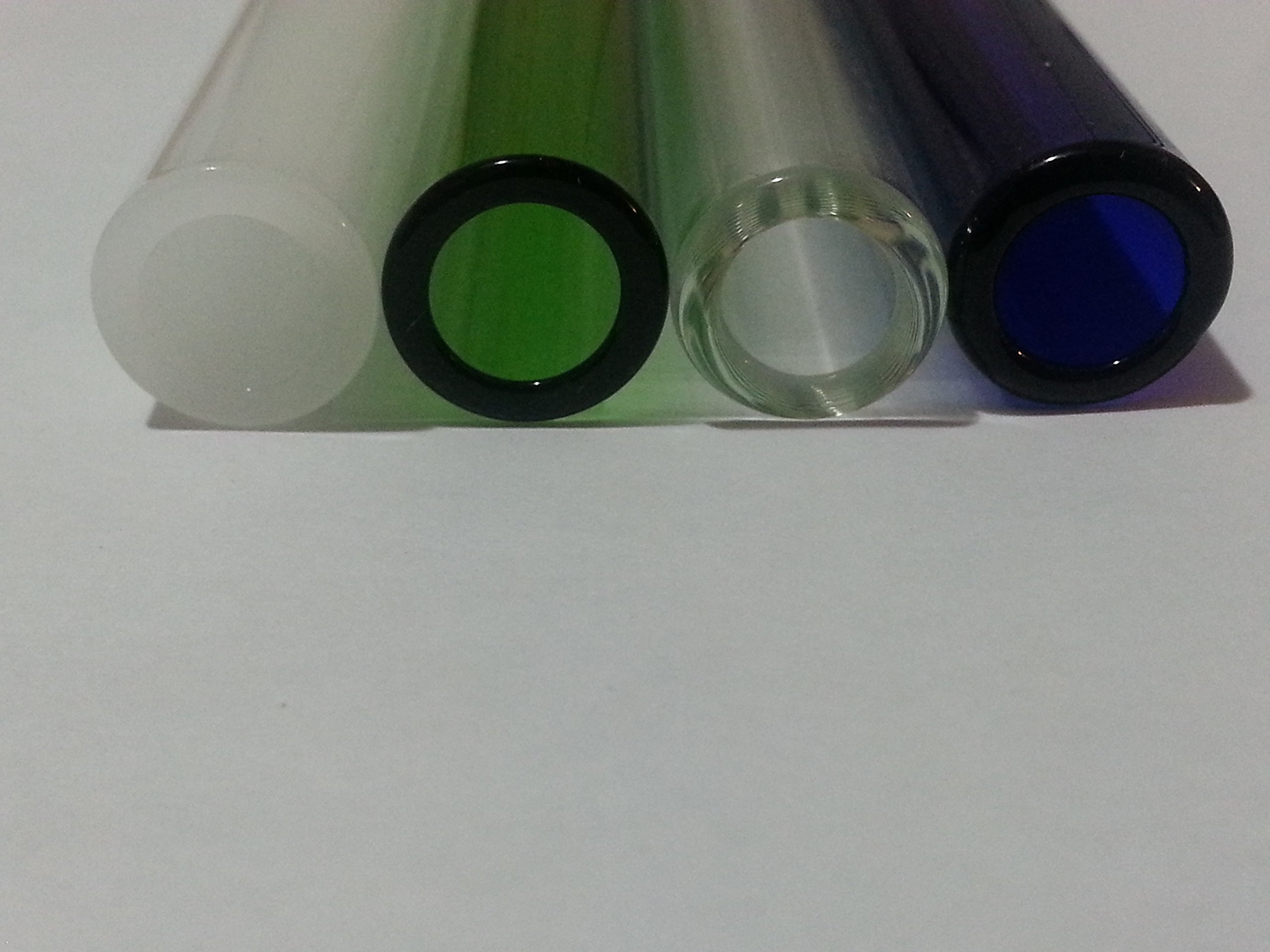 Borosilicate Glass Blowing Tubes 8 Piece 4 Inch 12mm OD 2mm Thick Wall Colored Tubing White Green Clear Blue
