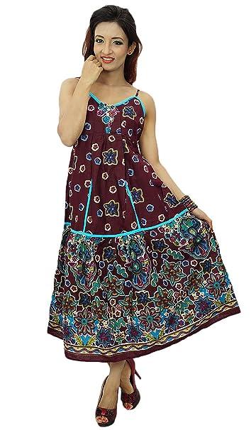India algodón del vestido de ropa de las mujeres gitano bohemio del tirante de espagueti del