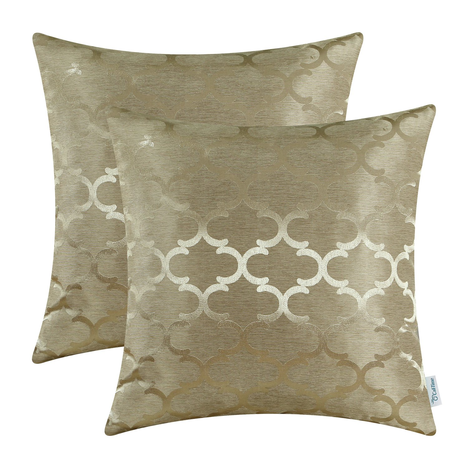 CaliTime Pack of 2 Cushion Covers Throw Pillow Cases Shells for Home Sofa Couch Modern Quatrefoil Accent Geometric 18 X 18 Inches Amber Gold