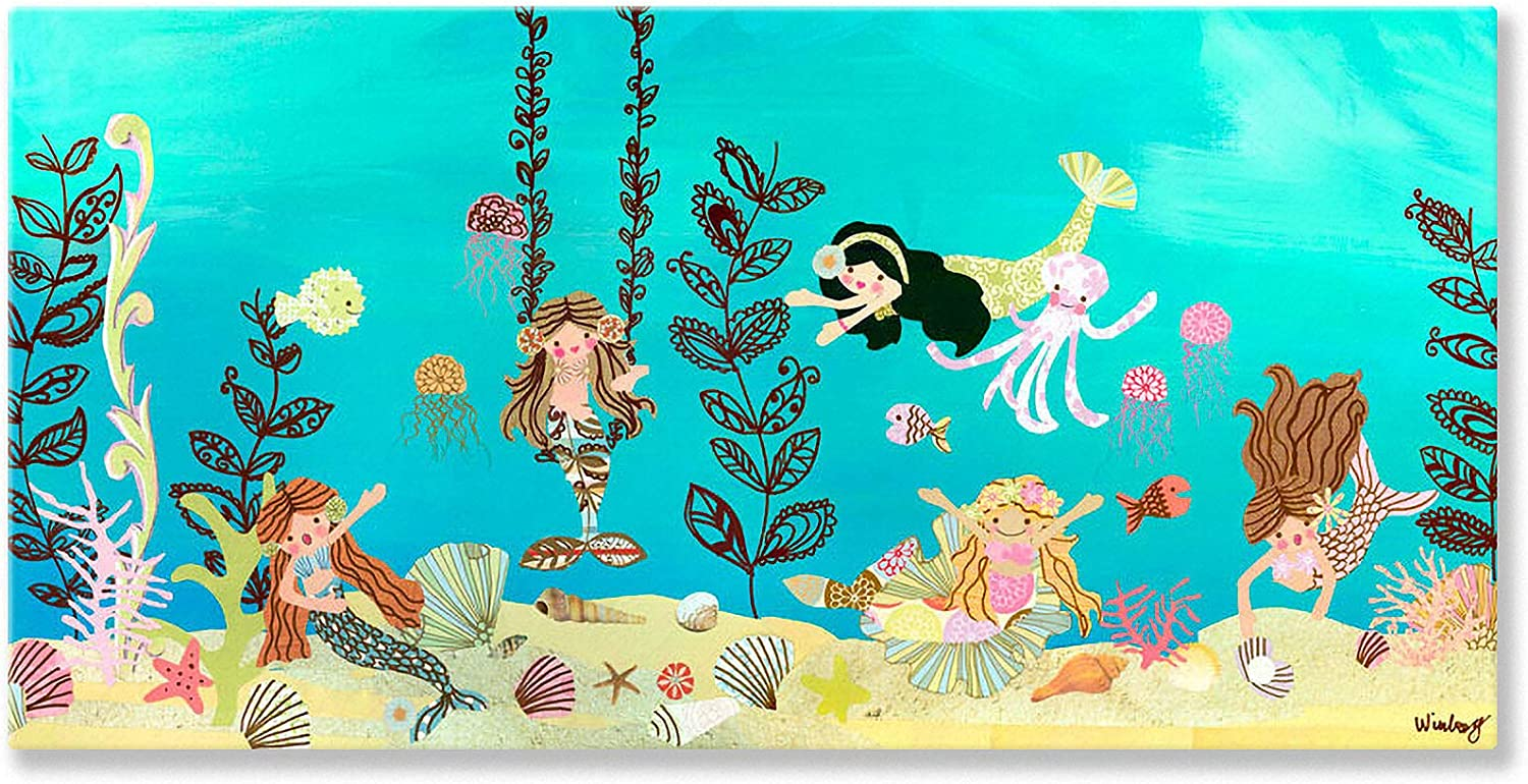 Amazon Com Oopsy Daisy Mermaid Play Day Stretched Canvas Wall Art By The Winborg Sisters 36 By 18 Inch Prints Posters Prints