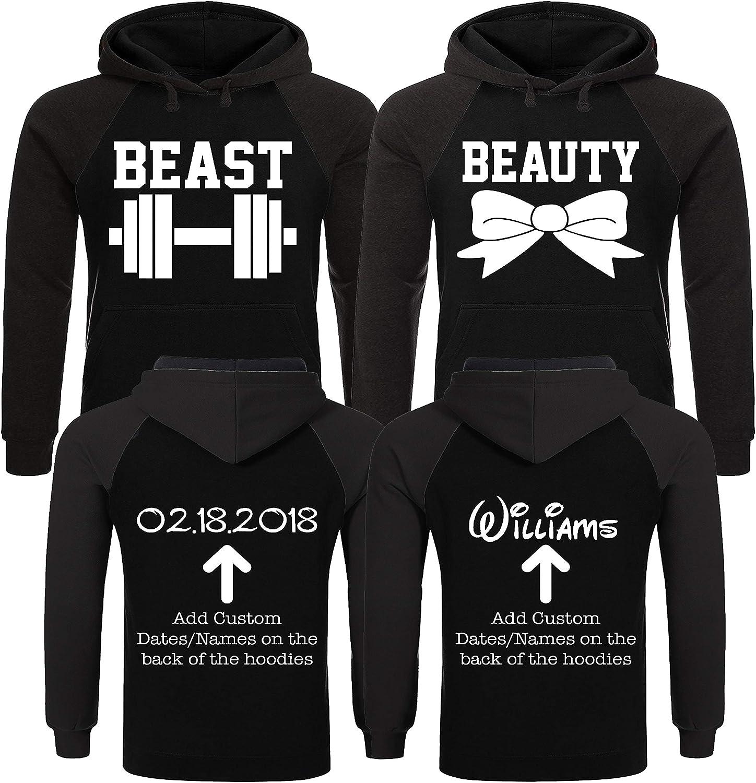 Charcoal Men Medium Beast and Beauty Couple Hoodies 2 Pack Black Women Small Beast and Beauty Matching Hoodies
