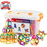 GLOUE Magnetic Stacking Tiles, Building Blocks, Square, Triangle, Large Triangle Magnets Toys for Girls & Boys - Deluxe Set (64pcs) (64)