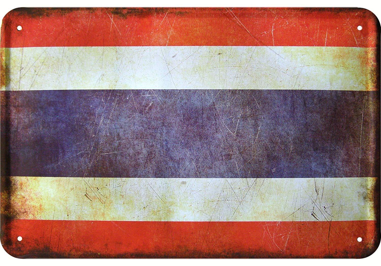YASMINE HANCOCK Thailand Flagge Thai Metall Plaque Zinn Logo Poster Wand Kunst Cafe Club Bar Wohnkultur