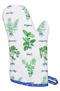 Martha Stewart Collection 100% Cotton Food Themed Oven Mitt (Hand Picked Herbs)