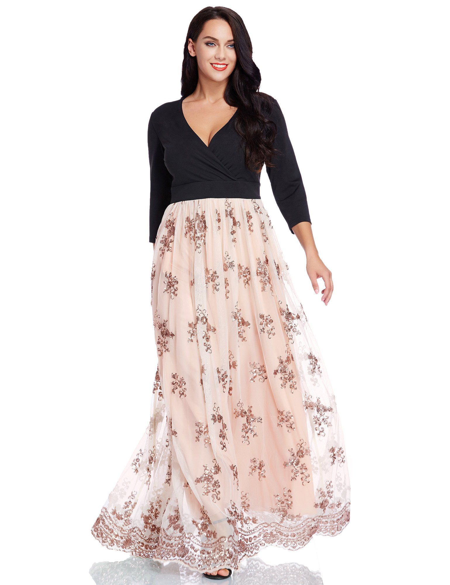 GRAPENT Women\'s Plus Size Sequin 3/4 Sleeves Evening Gown Party Long ...