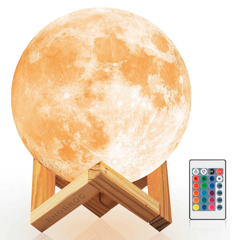 Ehobroc Moon Light, 5.9 inch Glowing Moon Globe Light, 3D Glowing Moon Lamp with Stand, Luna Moon Lamp with 16 Colors, Moon Night Light for Home Decor, Bedroom, Children Gifts