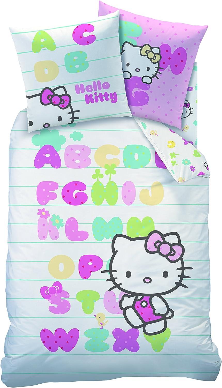 CTI Housse DE Couette 140X200 ET 1 TAIE 63X63 Hello Kitty ABECEDAIRE 100/% Coton Multicolore