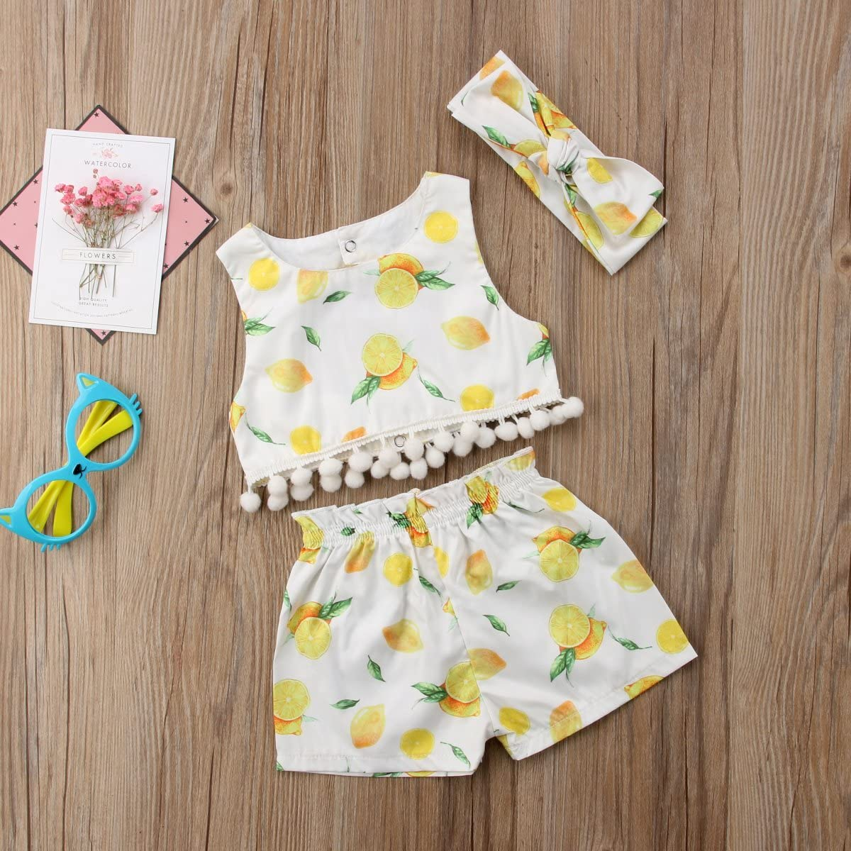 3Pcs Baby Girls Sleeveless Crop Top with Pompom+Lemon Shorts+Headband Outfit Set