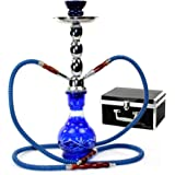 "GSTAR Deluxe Series: 17"" 2 Hose Hookah Complete Set w/Travel Case (Royal Blue)"