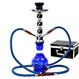"GSTAR Deluxe Series: 18"" 2 Hose Hookah Complete Set w/ Travel Case - (Royal Blue)"