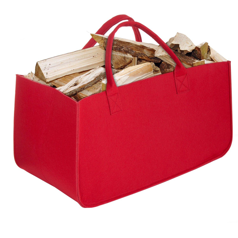 Bolsa de Fieltro, Diealles Chimenea Madera Cesta con Mango para Transportar Madera, Juguetes, Periódicos, Compras, 50 x 25 x 25 cm (Azul)