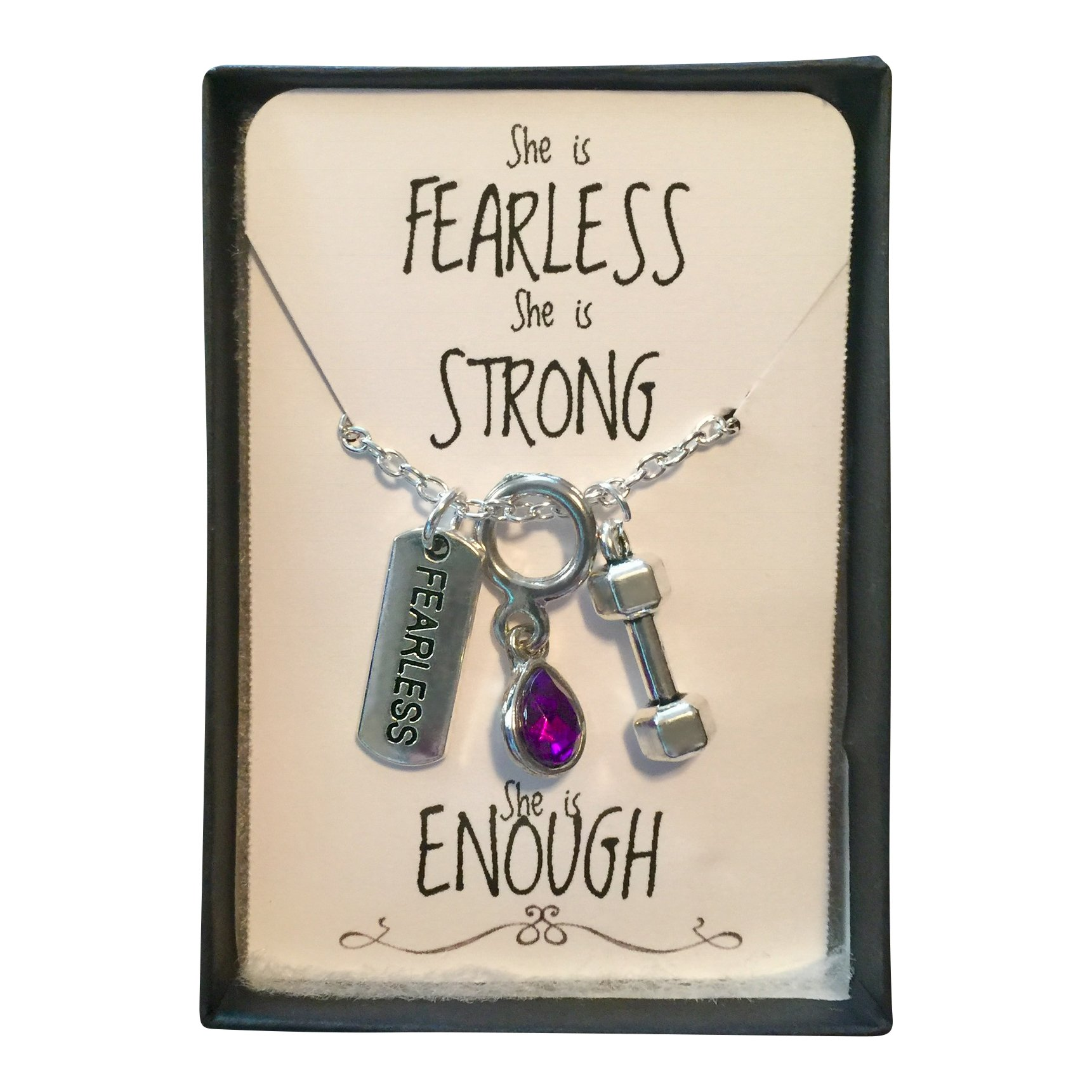 Harper Olivia Purple Tear Drop Stone Cluster Necklace 'She is FEARLESS, She is STRONG, She is ENOUGH' Charm Necklace in gift box Crossfit Workout Jewelry