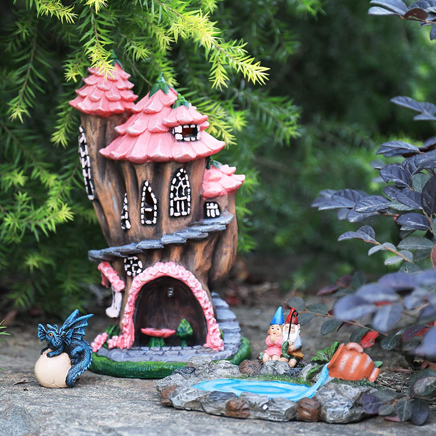 LA JOLIE MUSE Fairy Garden Gnome Accessories Kit - Hand Painted Miniature Solar Powered Fairy House Dragon Figurine Set of 4 pcs, Indoor & Outdoor Christmas Ornaments Gifts for Girls Boys Adults