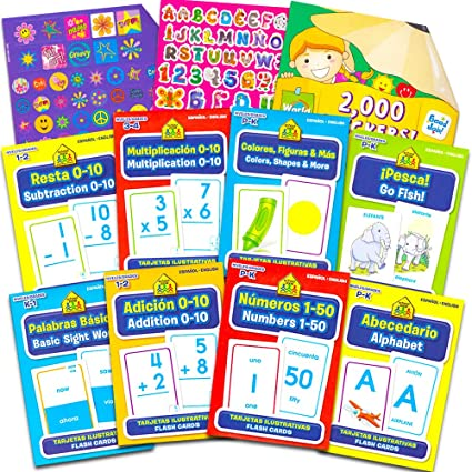 School Zone English And Spanish Flash Cards Super Set Toddler Kids -- 8 Bilingual Packs and Stickers (ABCs, Numbers, Colors, Shapes, Sight Words & ...