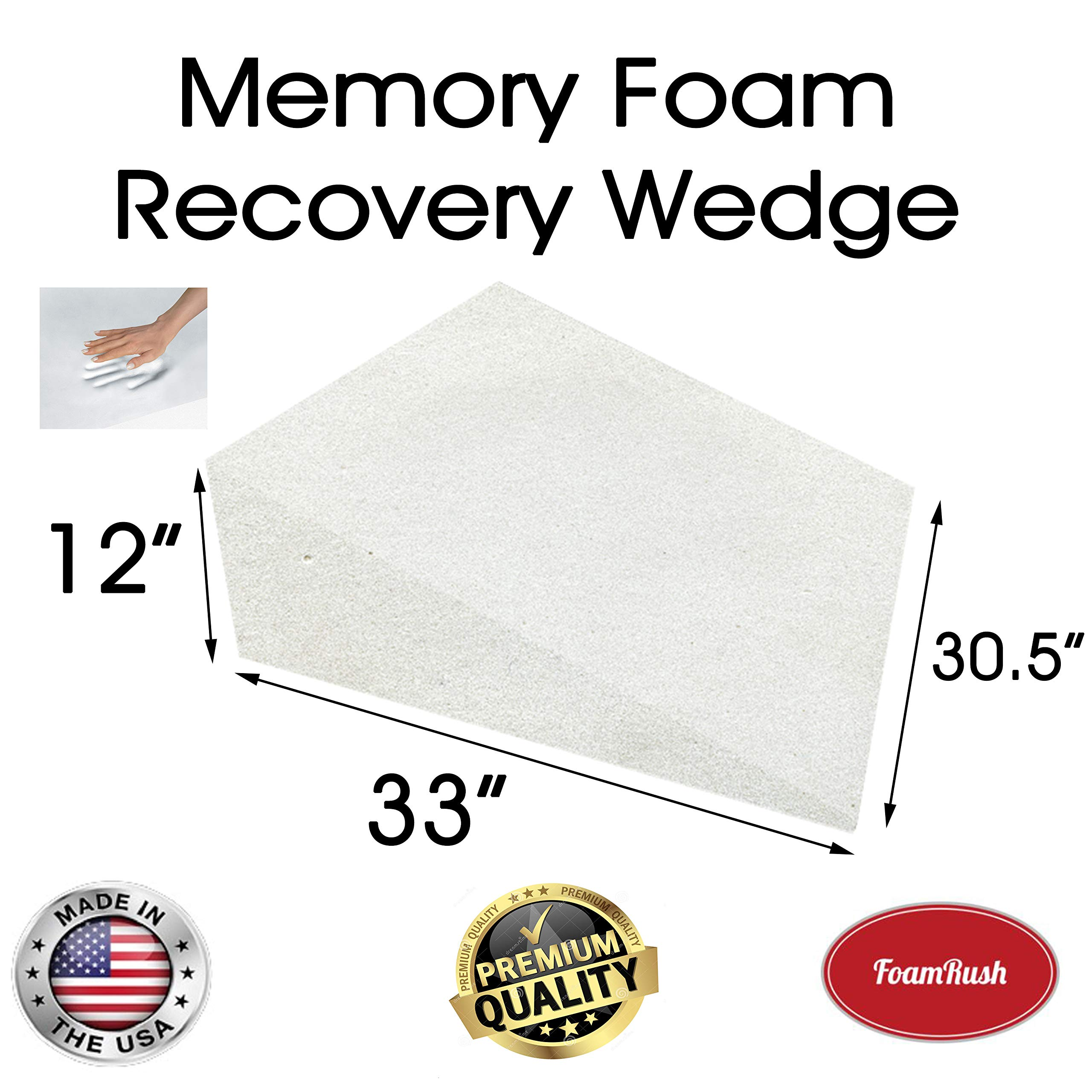 FoamRush 12'' H x 33'' L x 30.5'' W Premium Quality Therapeautic Memory Foam Bed Wedge Cushion Replacement Best for Sleeping, Reading, Rest or Elevation (Relives Acid Reflux, Snoring & Back Pain) by FoamRush