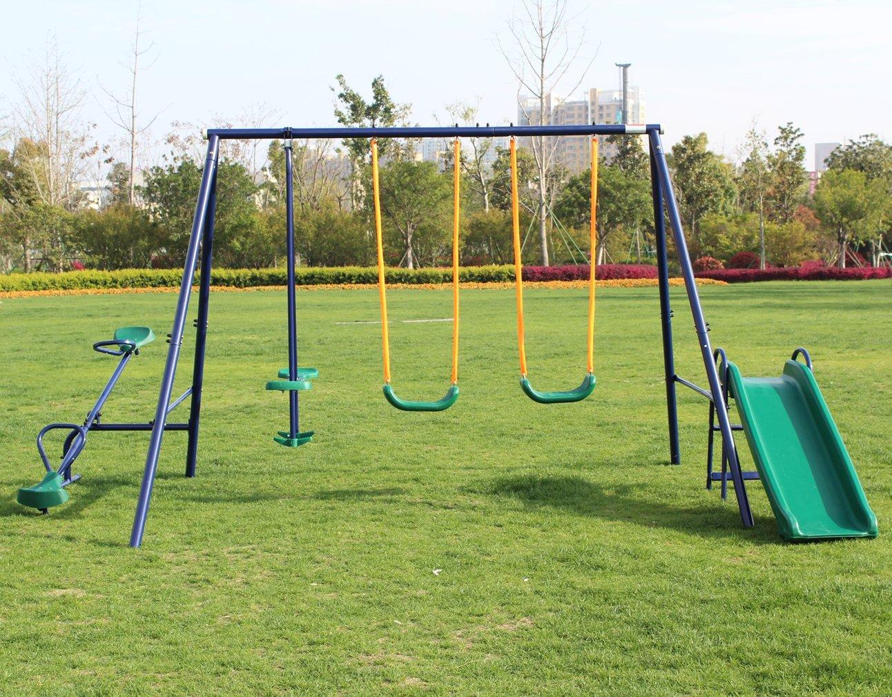 KLB Sport Metal Swing Set w/ Slide (Blue) by KLB Sport