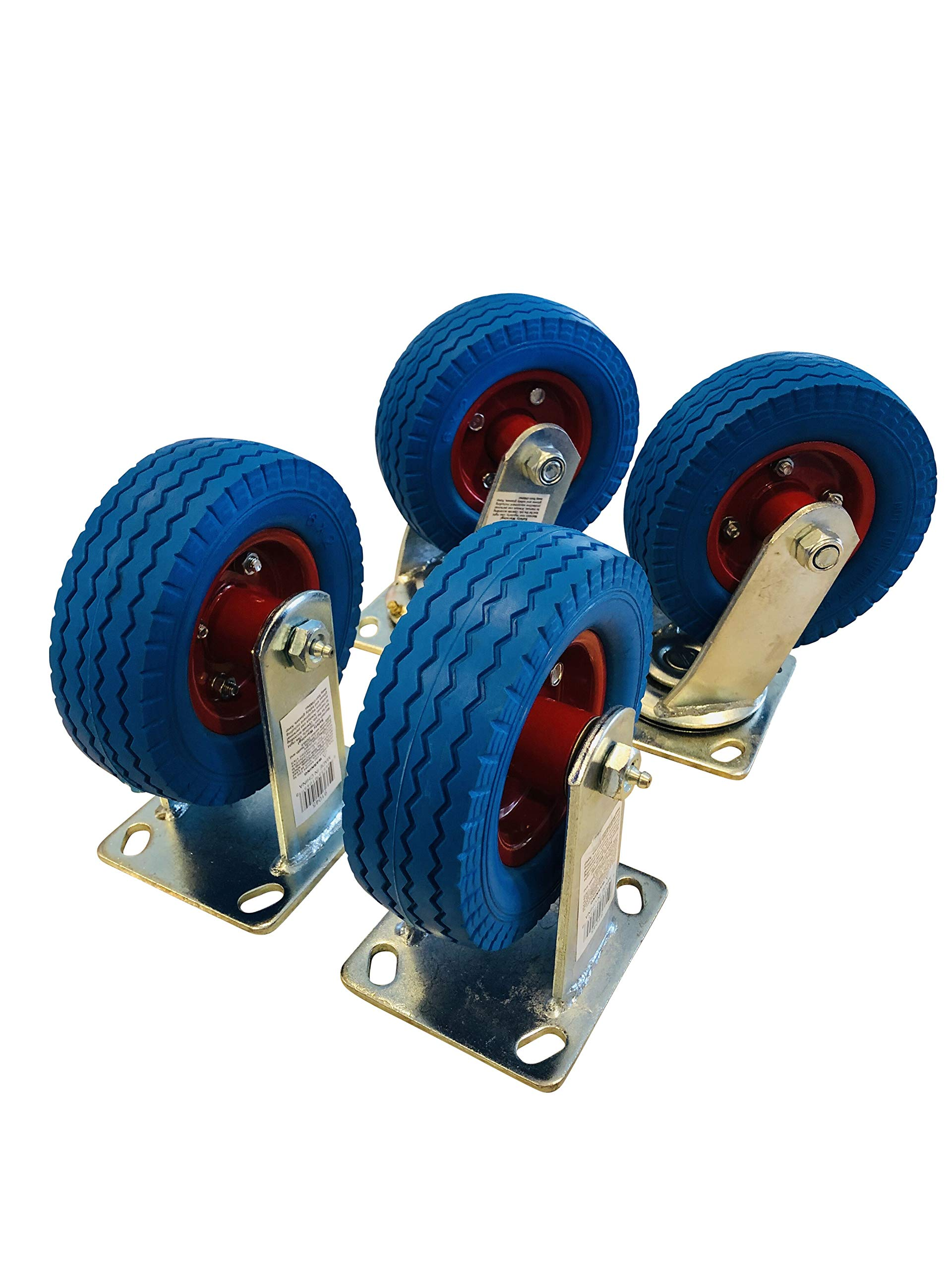 4-Pack of 6'' Flat Free Casters (2 Swivel and 2 Fixed)