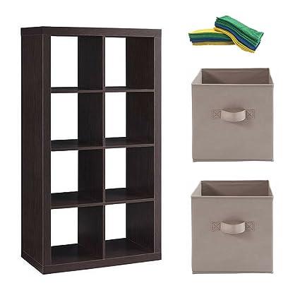 Delicieux Better Homes And Gardens 8 Cube Storage Organizer, Espresso W/storage Bin  And Microfiber