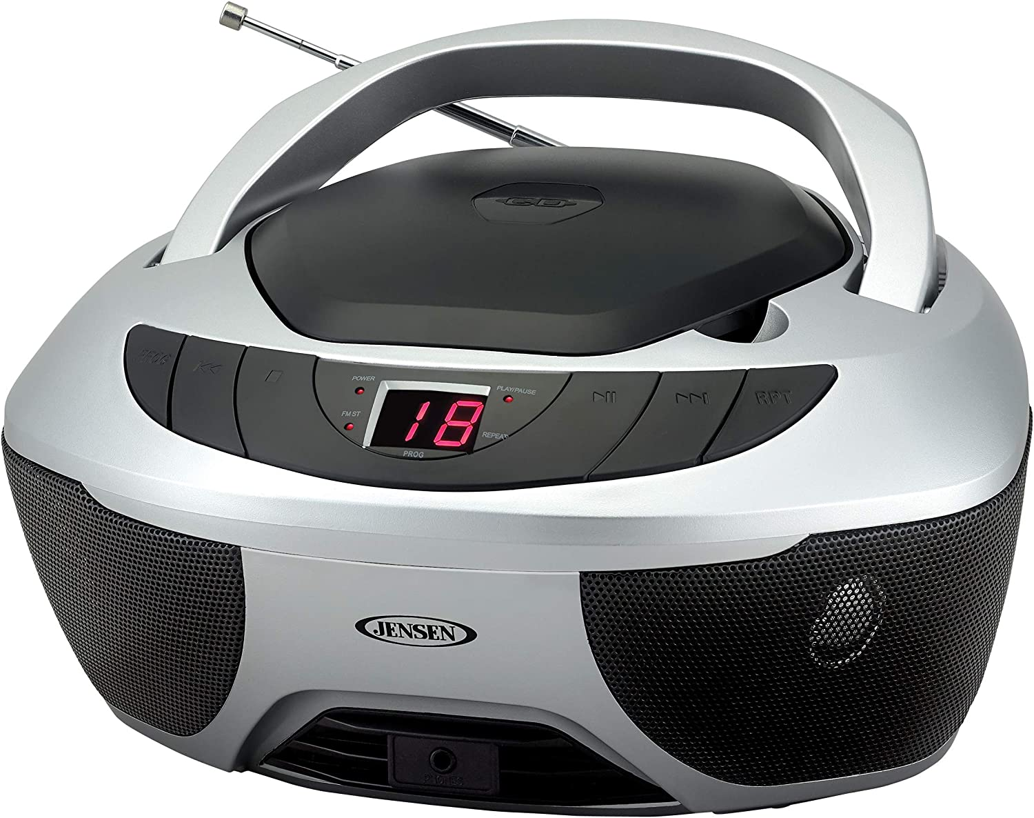 Jensen CD-475S Portable Sport Stereo Boombox CD Player with AM/FM Radio and Aux Line-in & Headphone Jack (Silver)