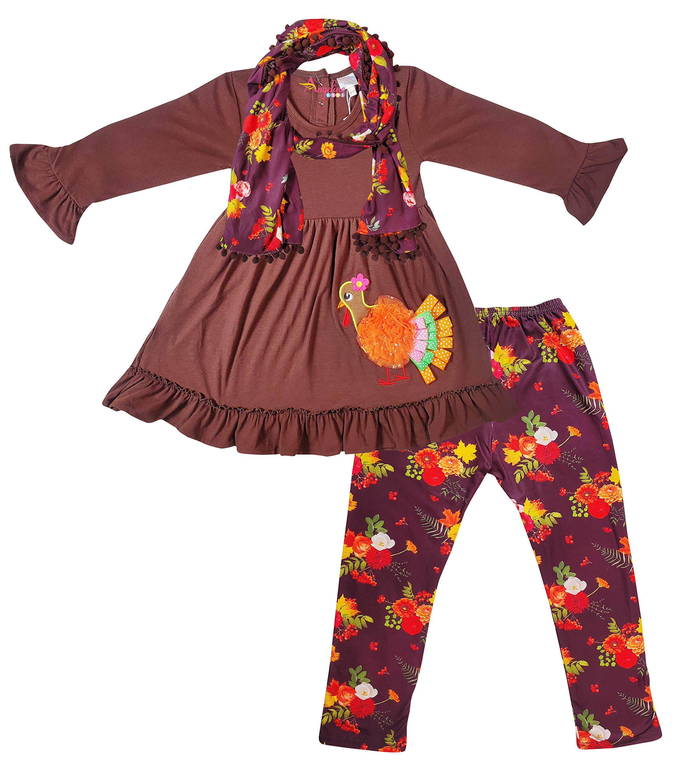 Little Girls Thanksgiving Outfit - Ribbon Turkey Vintage Floral Top Leggings Scarf Set 10/5XL by Angeline