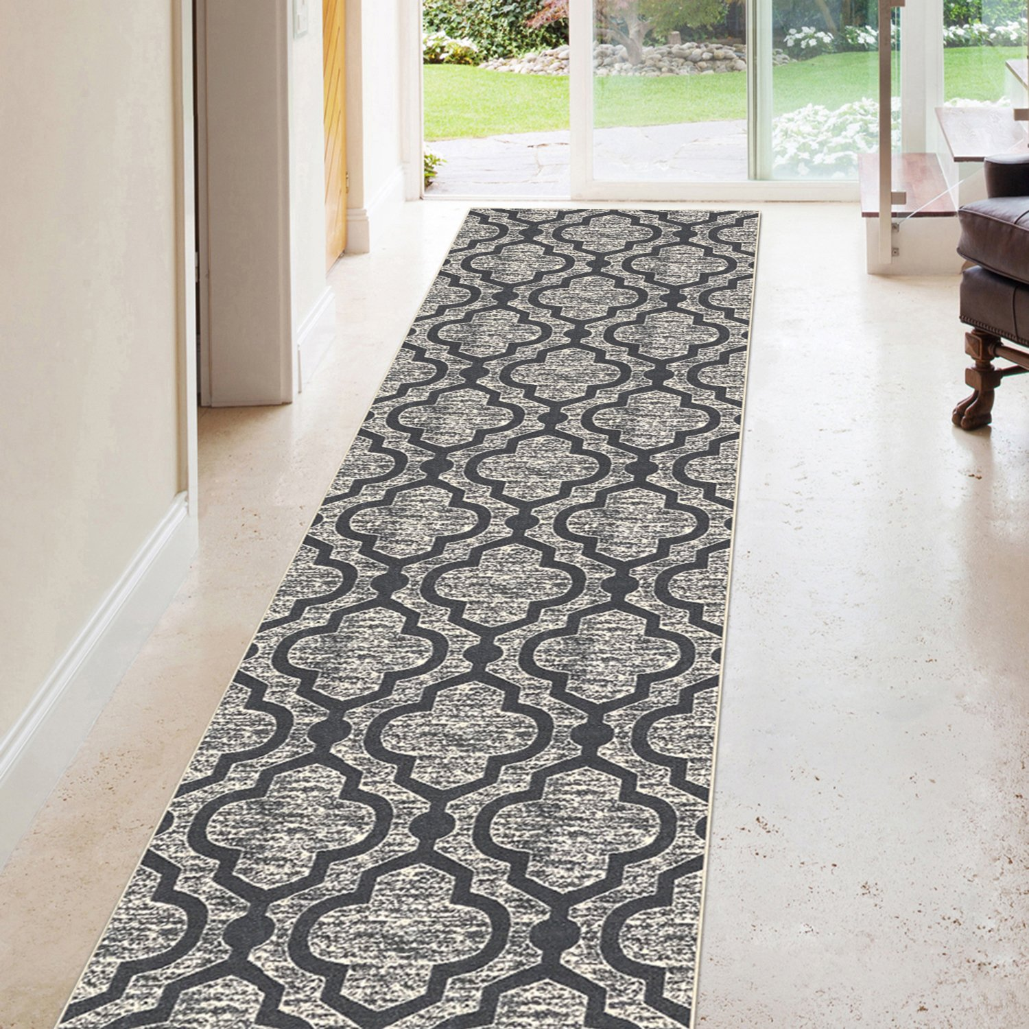 Kapaqua Rubber Backed 31-inch x 12-feet Long Runner Rug SILVER GREY Moroccan Trellis Non-Slip Kitchen Entryway Hallway 3x12