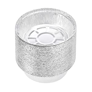 """AmazonCommercial Take-Out Containers, 7"""" Round Aluminum Foil, Pack of 50"""