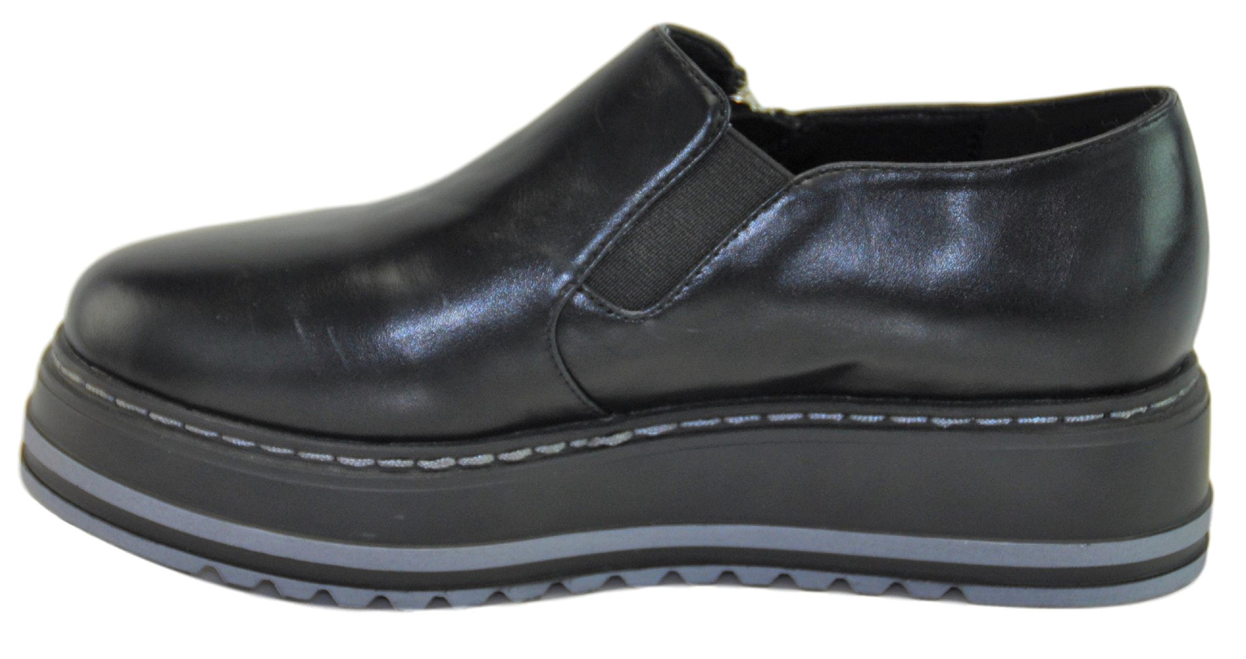 Lynda Black Quality Prime Fashion Slip On Clearance Sale High Heel Creeper Platform Wedge Summer School Oxford Zapatos de Plataforma para Ninas for Youth Teen Girls Women Mujer (Size 5.5, Black) by BDshoes (Image #4)