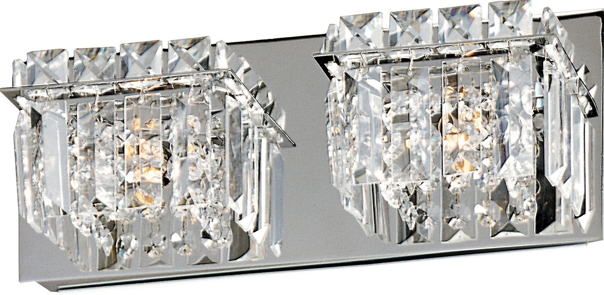 ET2 E23252-20PC Bangle 2-Light Bath Vanity, Polished Chrome Finish, Crystal Glass, G9 Xenon Bulb, 159W Max., Dry Safety Rated, 2900K Color Temp., Electronic Low Voltage (ELV) Dimmable, Glass Shade Material, 320 Rated Lumens