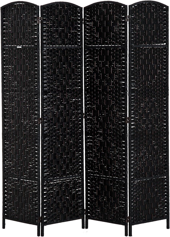 HOMCOM 6' Tall Wicker Weave 4 Panel Room Divider Privacy Screen - Black Wood