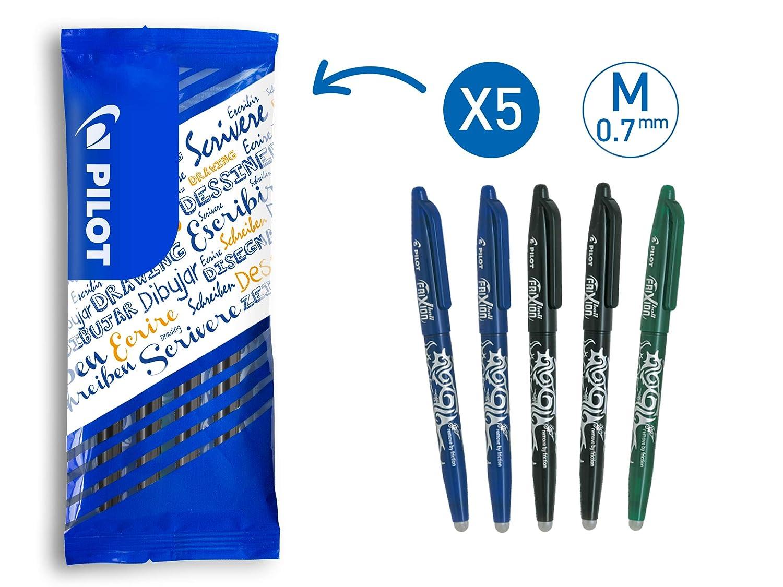 Blau PILOT 5er Set FriXion Ball Tintenroller 0,7 mm farblich sortiert: 2x Schwarz Rot Gr/ün radierbar