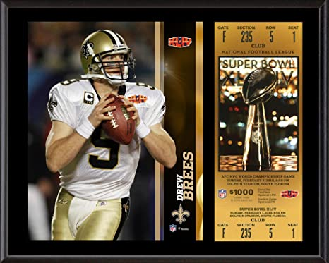 Drew Brees New Orleans Saints 12 quot  x 15 quot  Super Bowl XLIV Plaque  with Replica a9e0e2a36
