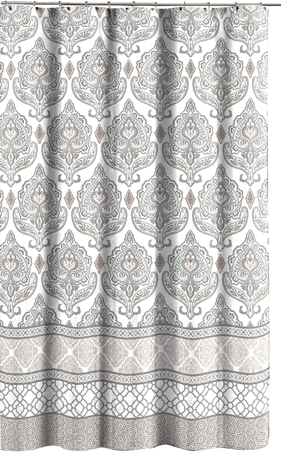 Amazon Com Grey Taupe White Canvas Fabric Shower Curtain Floral