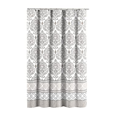 Grey Taupe White Canvas Fabric Shower Curtain: Floral Damask with Geometric Border Design