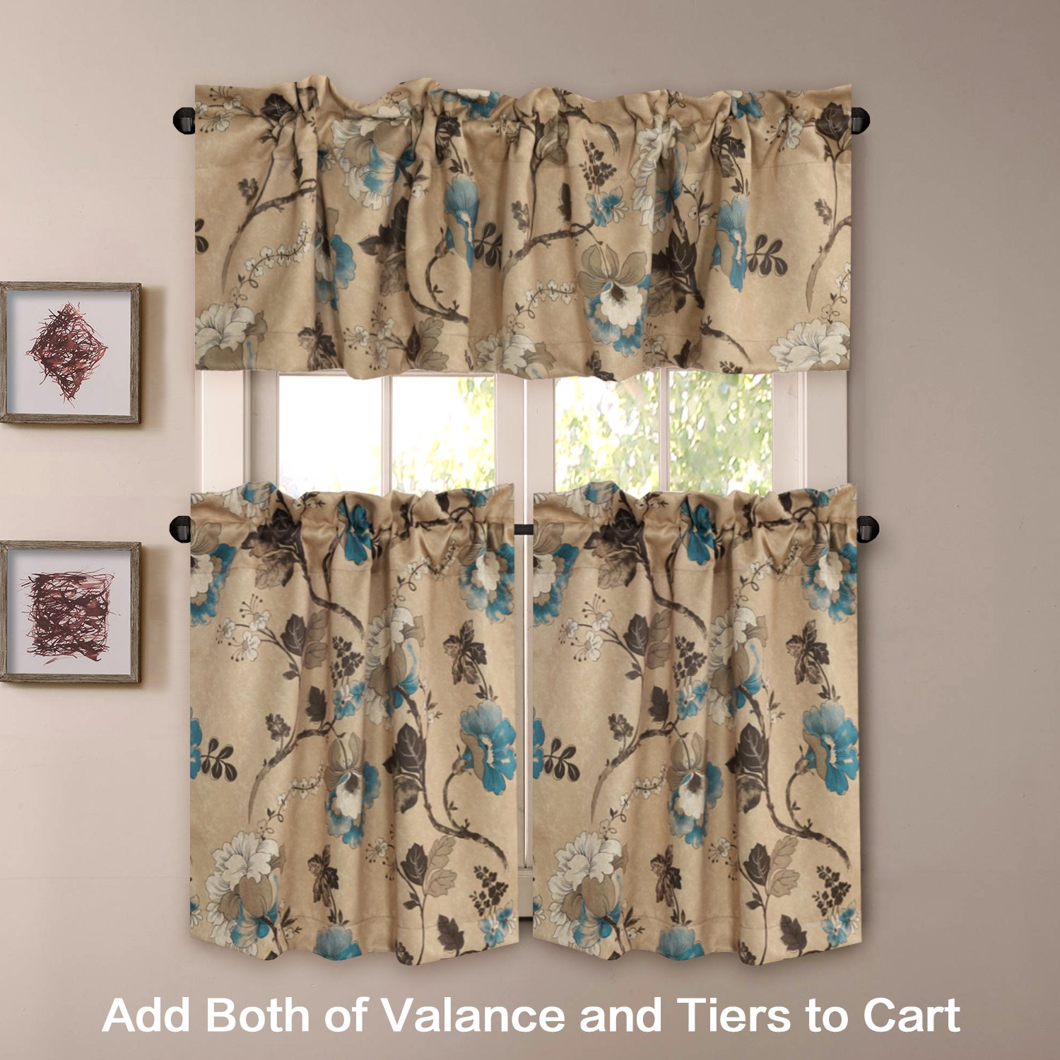 H.VERSAILTEX Thermal Insulated Ultra Soft Rustic Kitchen Curtains,Rod  Pocket Window Curtain Tiers for Café, Bath, Laundry - Vintage Floral  Pattern - ...