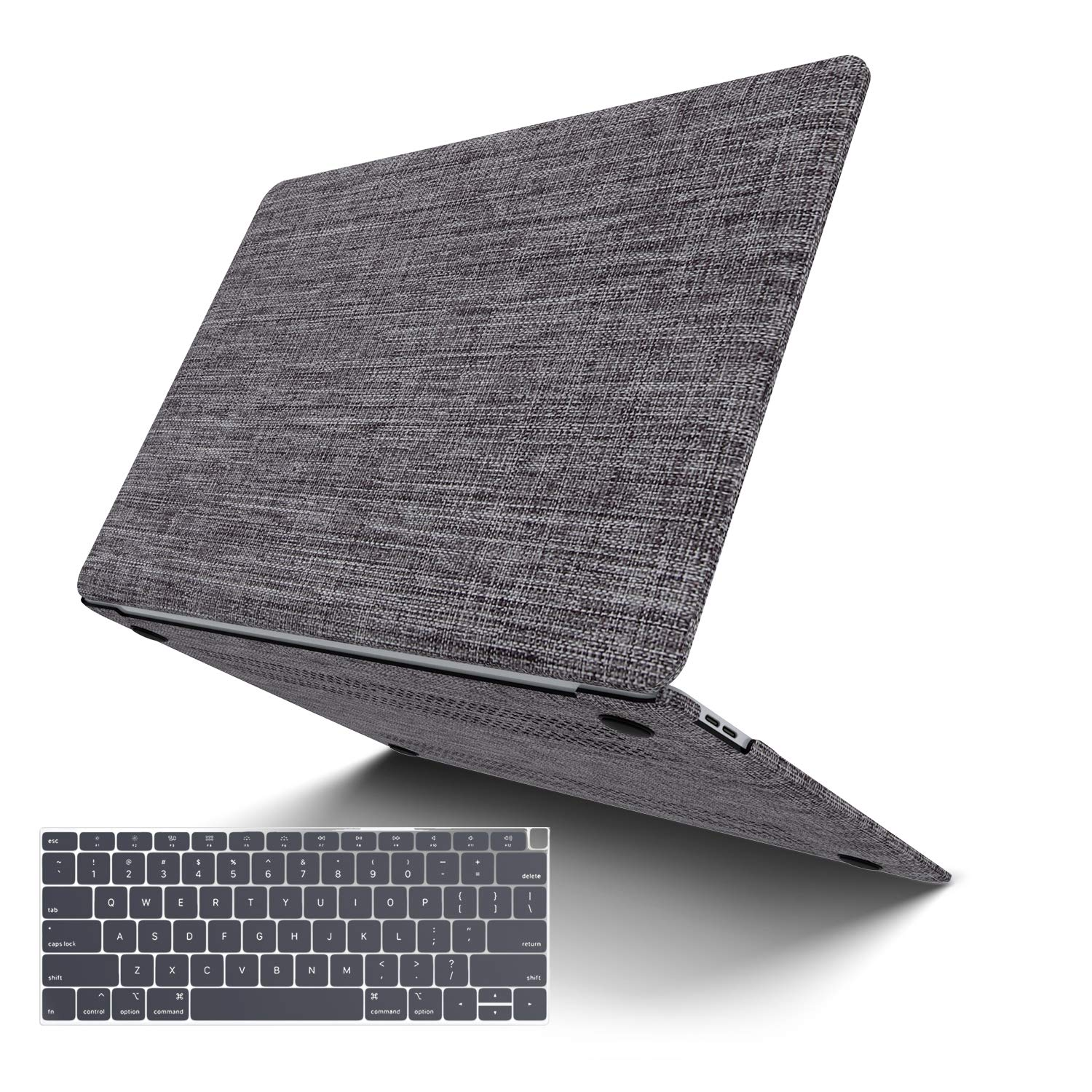 MacBook Pro 13 Case 2019 2018 2017 2016 Release A2159/A1989/A1706/A1708, JGOO Soft Touch Shell Cover(Fabric), Hard Shell Case Compatible Newest Mac Pro 13 with/Without Touch Bar, Grey by G JGOO
