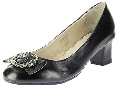 Trachten Pumps Schwarz Glattleder Damen Schuhe Luise, Größe:38, Farbe:Schwarz Bergheimer Trachtenschuhe